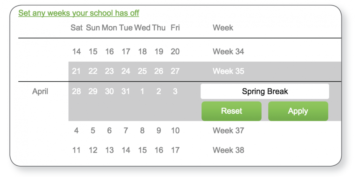 Reading Plus Remember to Set a Weekly Assignment Exception for Spring Break